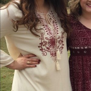 Cream and maroon embroidered dress